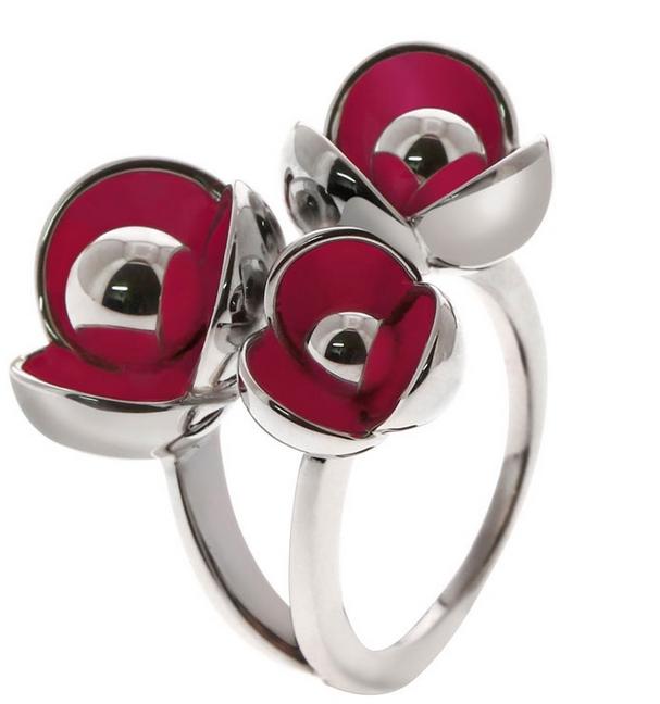 bague argent fleur rouge cacharel