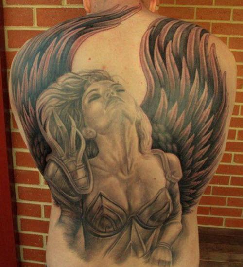 tatouage ange dos
